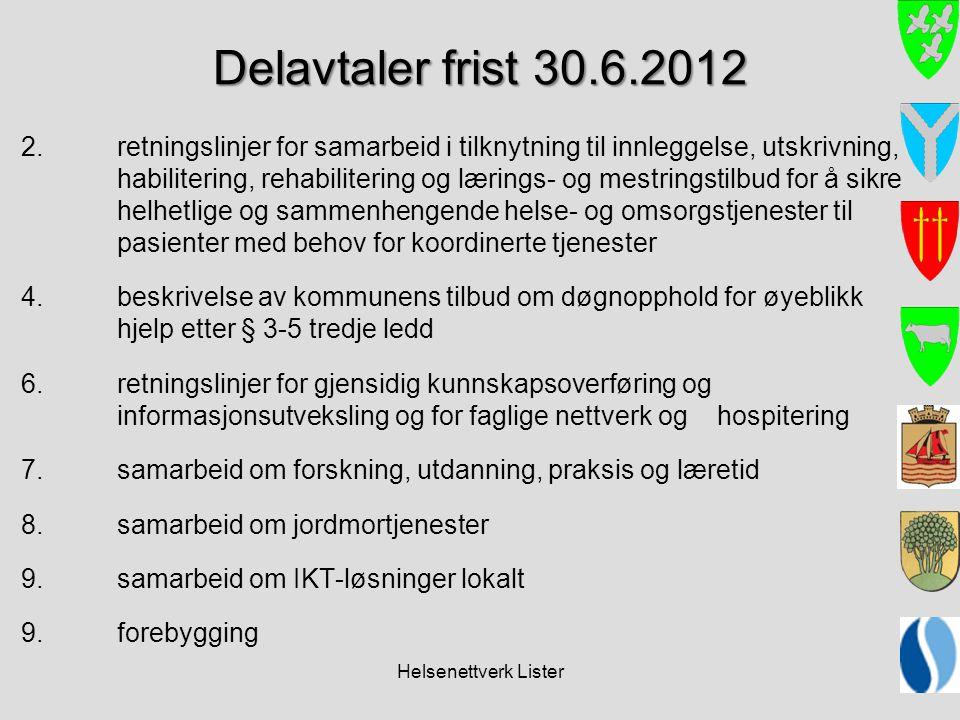 Helsenettverk Lister Delavtaler frist 30.6.2012 2.retningslinjer for samarbeid i tilknytning til innleggelse, utskrivning, habilitering, rehabiliterin