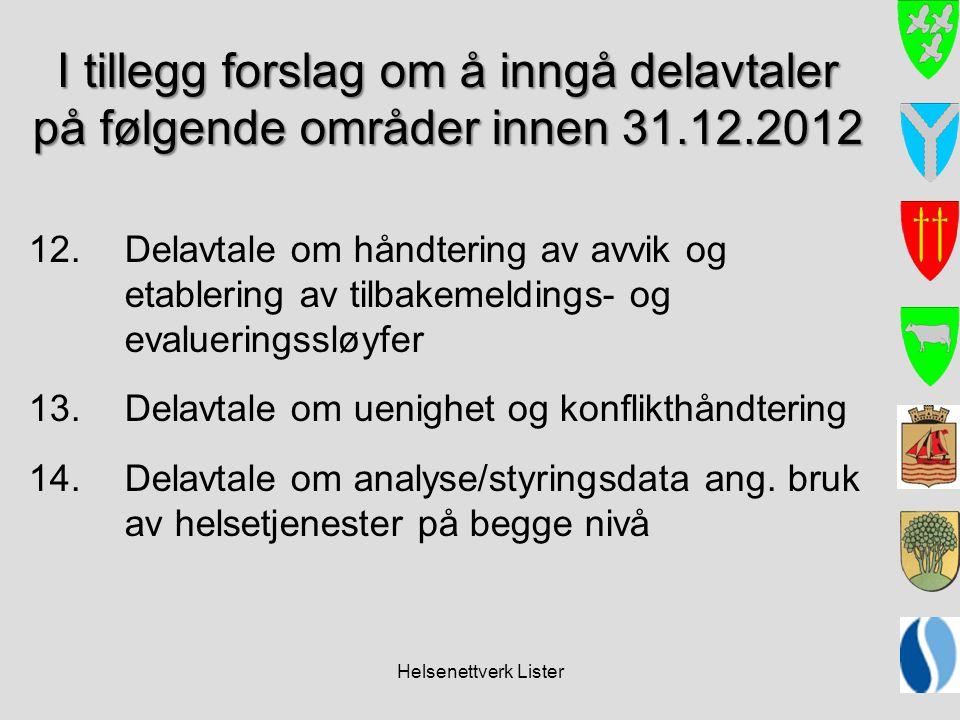 Helsenettverk Lister I tillegg forslag om å inngå delavtaler på følgende områder innen 31.12.2012 12. Delavtale om håndtering av avvik og etablering a