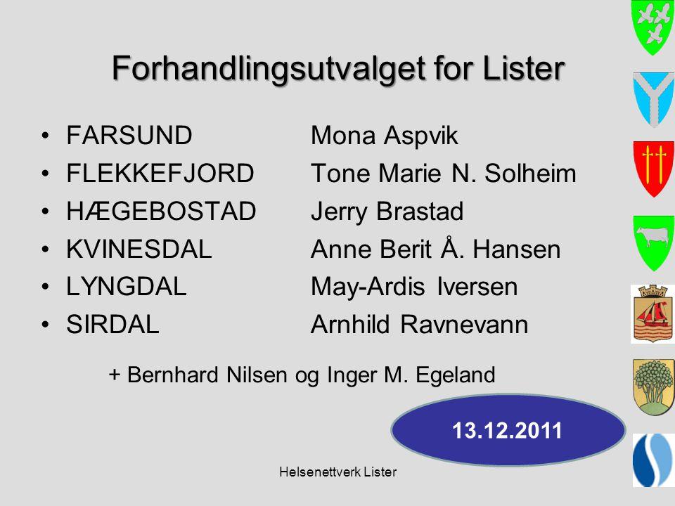Helsenettverk Lister Forhandlingsutvalget for Lister •FARSUND Mona Aspvik •FLEKKEFJORDTone Marie N. Solheim •HÆGEBOSTADJerry Brastad •KVINESDALAnne Be