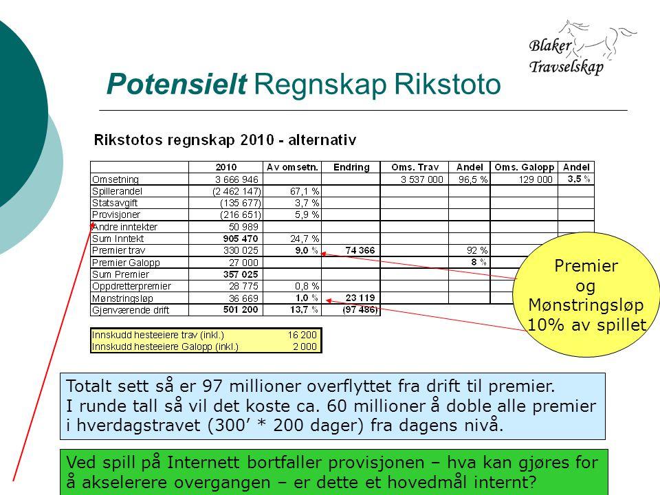 Potensielt Regnskap Rikstoto Totalt sett så er 97 millioner overflyttet fra drift til premier.