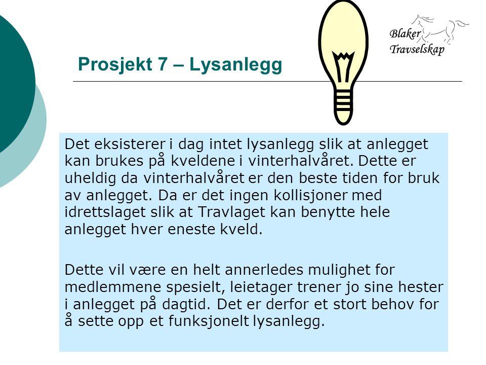 Prosjekt 7 – Lysanlegg Det eksisterer i dag intet lysanlegg slik at anlegget kan brukes på kveldene i vinterhalvåret.