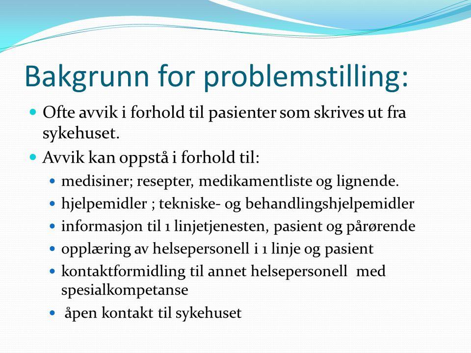 Bakgrunn for problemstilling:  Ofte avvik i forhold til pasienter som skrives ut fra sykehuset.  Avvik kan oppstå i forhold til:  medisiner; resept