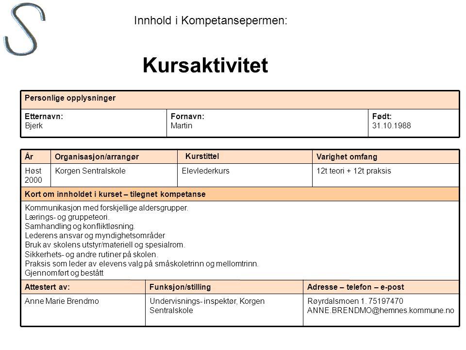 Født: 31.10.1988 Fornavn: Martin Etternavn: Bjerk Personlige opplysninger Røyrdalsmoen 1. 75197470 ANNE.BRENDMO@hemnes.kommune.no Undervisnings- inspe