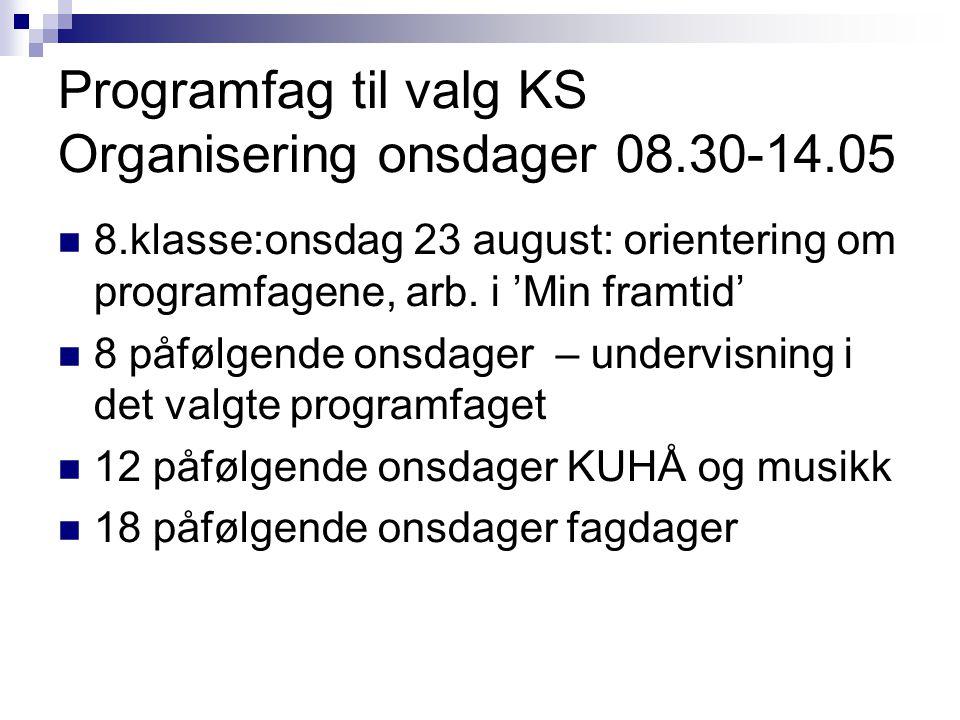 Programfag til valg KS Organisering onsdager 08.30-14.05  8.klasse:onsdag 23 august: orientering om programfagene, arb. i 'Min framtid'  8 påfølgend