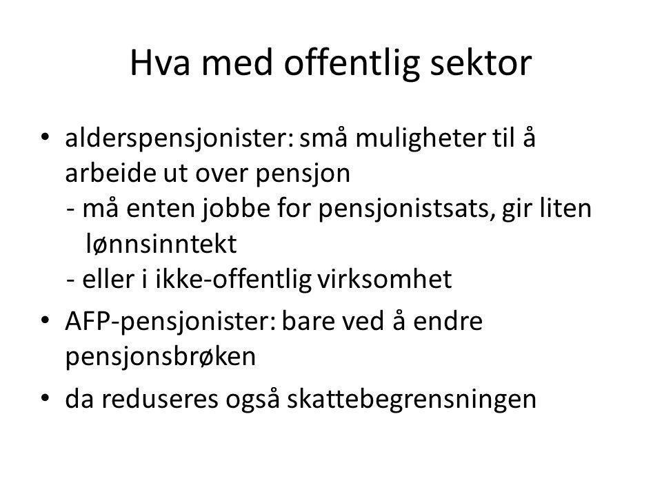 Hva med offentlig sektor • alderspensjonister: små muligheter til å arbeide ut over pensjon - må enten jobbe for pensjonistsats, gir liten lønnsinntekt - eller i ikke-offentlig virksomhet • AFP-pensjonister: bare ved å endre pensjonsbrøken • da reduseres også skattebegrensningen