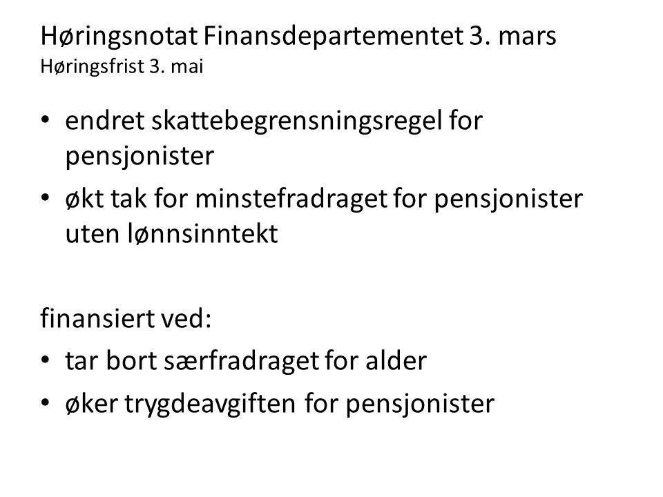 Høringsnotat Finansdepartementet 3. mars Høringsfrist 3.