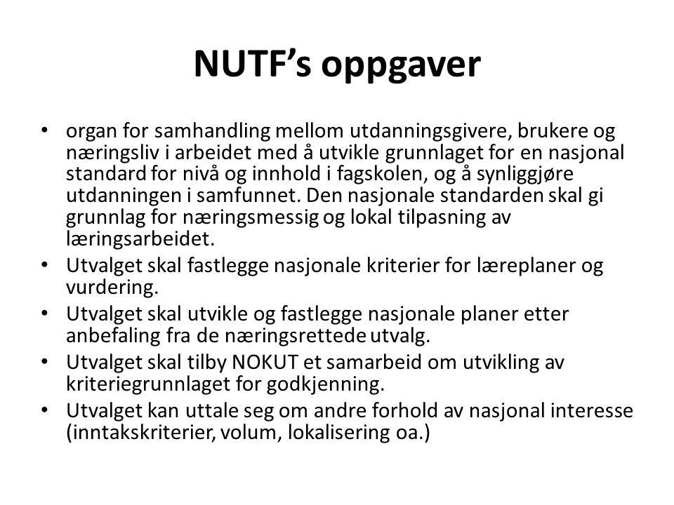 NUTF's oppgaver • organ for samhandling mellom utdanningsgivere, brukere og næringsliv i arbeidet med å utvikle grunnlaget for en nasjonal standard fo