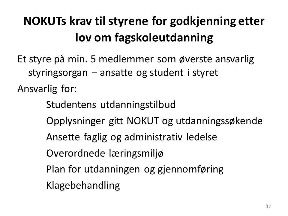 17 NOKUTs krav til styrene for godkjenning etter lov om fagskoleutdanning Et styre på min. 5 medlemmer som øverste ansvarlig styringsorgan – ansatte o