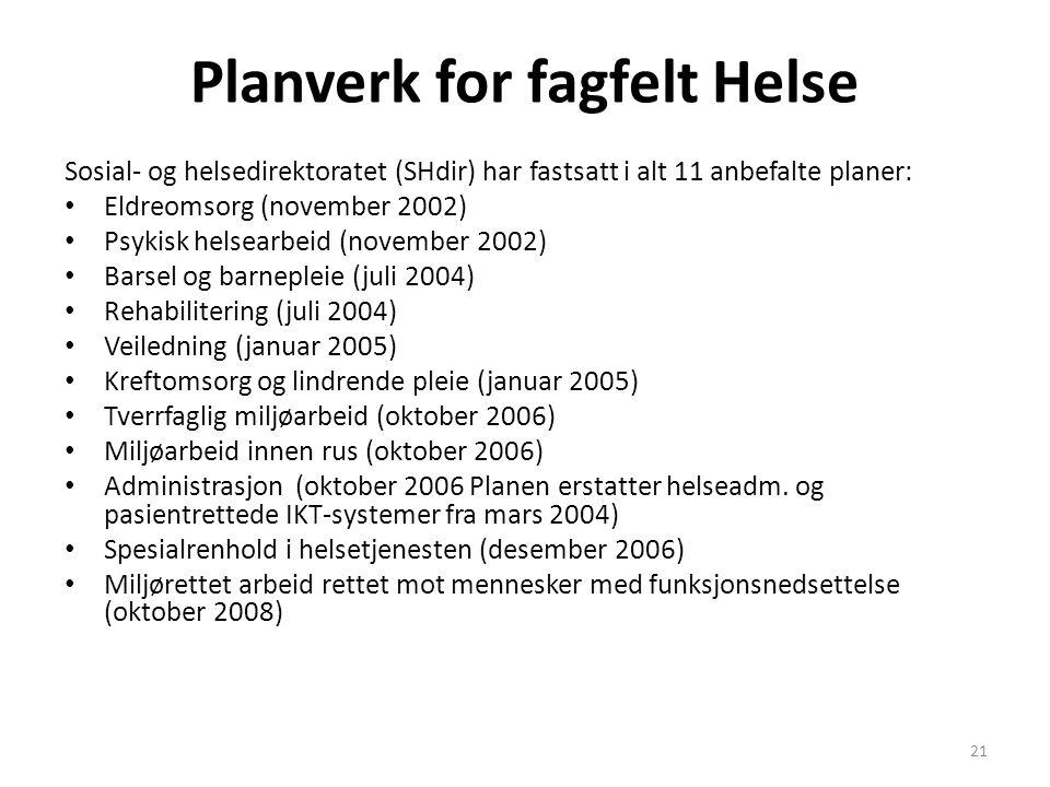 21 Planverk for fagfelt Helse Sosial- og helsedirektoratet (SHdir) har fastsatt i alt 11 anbefalte planer: • Eldreomsorg (november 2002) • Psykisk hel