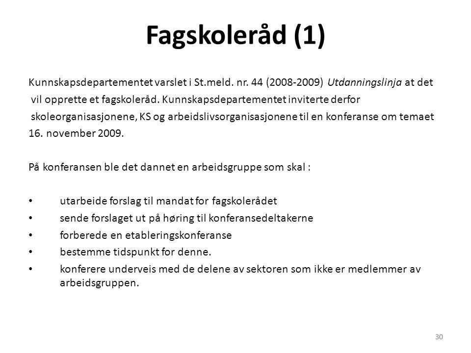30 Fagskoleråd (1) Kunnskapsdepartementet varslet i St.meld. nr. 44 (2008-2009) Utdanningslinja at det vil opprette et fagskoleråd. Kunnskapsdeparteme