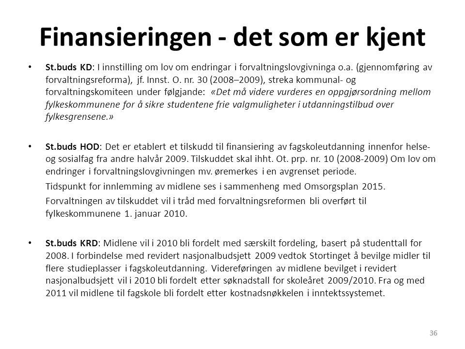 36 Finansieringen - det som er kjent • St.buds KD: I innstilling om lov om endringar i forvaltningslovgivninga o.a. (gjennomføring av forvaltningsrefo