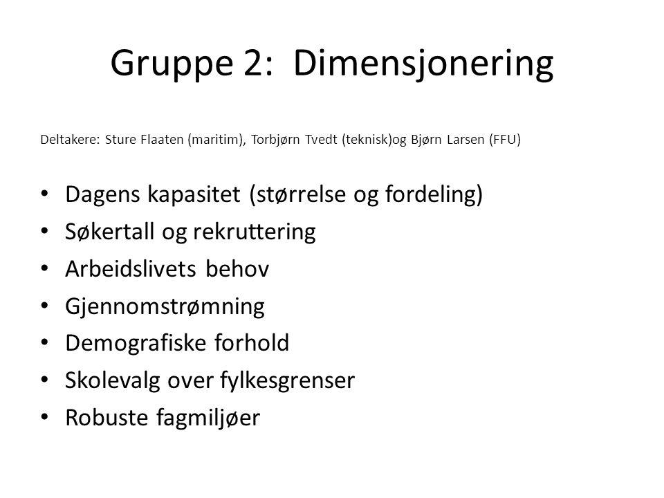 Gruppe 2: Dimensjonering Deltakere: Sture Flaaten (maritim), Torbjørn Tvedt (teknisk)og Bjørn Larsen (FFU) • Dagens kapasitet (størrelse og fordeling)