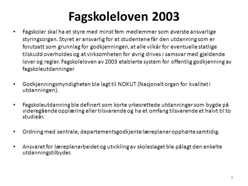 6 Fagskoleloven 2003 • Fagskoler skal ha et styre med minst fem medlemmer som øverste ansvarlige styringsorgan. Styret er ansvarlig for at studentene