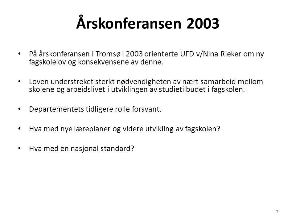 7 Årskonferansen 2003 • På årskonferansen i Tromsø i 2003 orienterte UFD v/Nina Rieker om ny fagskolelov og konsekvensene av denne. • Loven understrek
