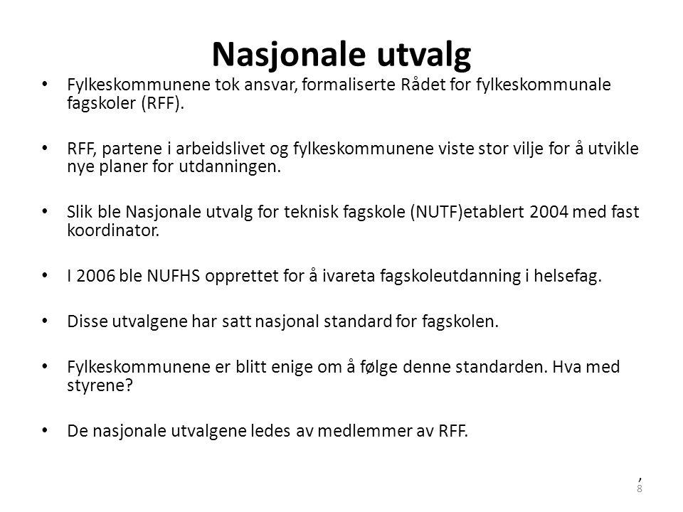 8 Nasjonale utvalg • Fylkeskommunene tok ansvar, formaliserte Rådet for fylkeskommunale fagskoler (RFF). • RFF, partene i arbeidslivet og fylkeskommun