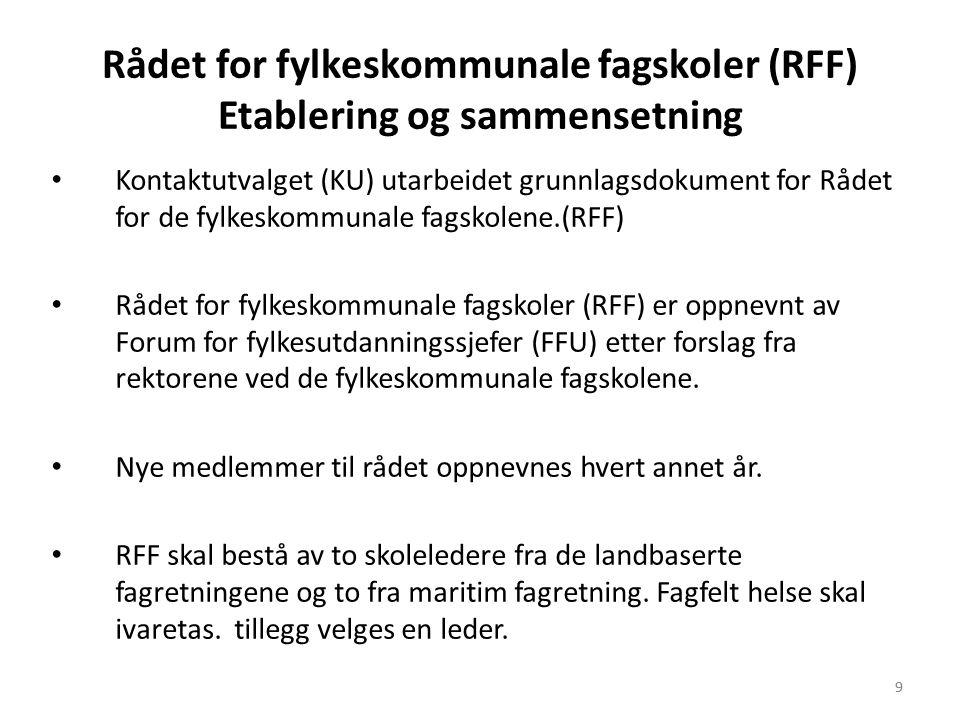 9 Rådet for fylkeskommunale fagskoler (RFF) Etablering og sammensetning • Kontaktutvalget (KU) utarbeidet grunnlagsdokument for Rådet for de fylkeskom