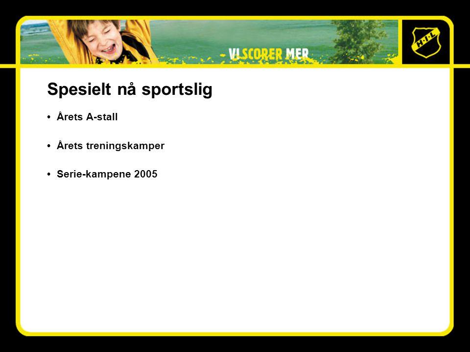 Spesielt nå sportslig •Årets A-stall •Årets treningskamper •Serie-kampene 2005