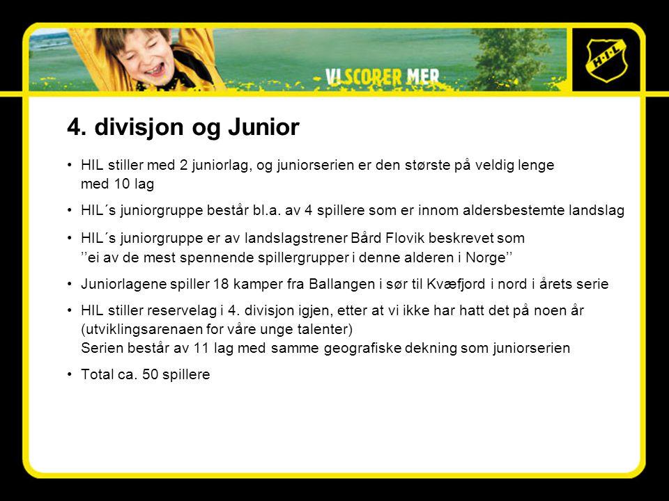 4. divisjon og Junior •HIL stiller med 2 juniorlag, og juniorserien er den største på veldig lenge med 10 lag •HIL´s juniorgruppe består bl.a. av 4 sp