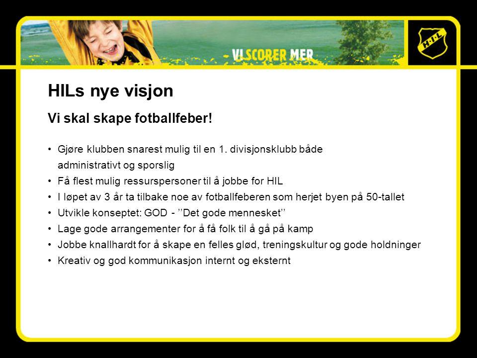 HILs nye visjon Vi skal skape fotballfeber. •Gjøre klubben snarest mulig til en 1.