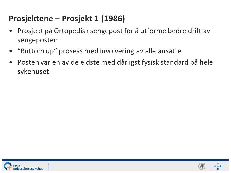 Hvordan det hele startet •Sammen med med AFI-leder Einar Thorsrud etablerte hun kontakt med direktør Veibust, Ullevål sykehus tidlig på 80-tallet •Helse- og sosialminister Tove Strand Gerhardsen bidro til likestillingsmidler til det første prosjektet i 1986 •Ved Kirurgisk klinikk med lederne Jan O.