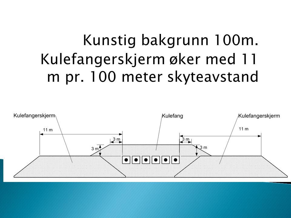 Kunstig bakgrunn 100m. Kulefangerskjerm øker med 11 m pr. 100 meter skyteavstand