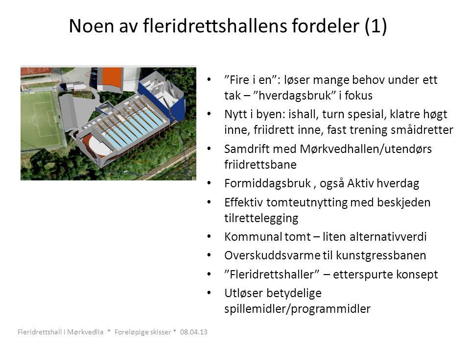 """Noen av fleridrettshallens fordeler (1) • """"Fire i en"""": løser mange behov under ett tak – """"hverdagsbruk"""" i fokus • Nytt i byen: ishall, turn spesial, k"""