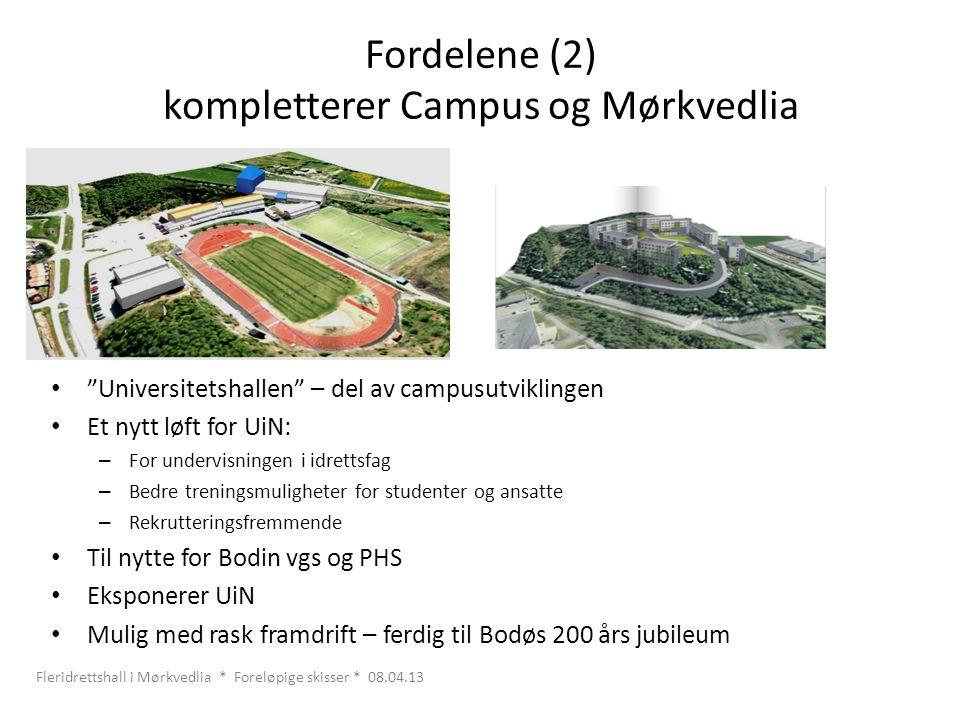 """Fordelene (2) kompletterer Campus og Mørkvedlia • """"Universitetshallen"""" – del av campusutviklingen • Et nytt løft for UiN: – For undervisningen i idret"""