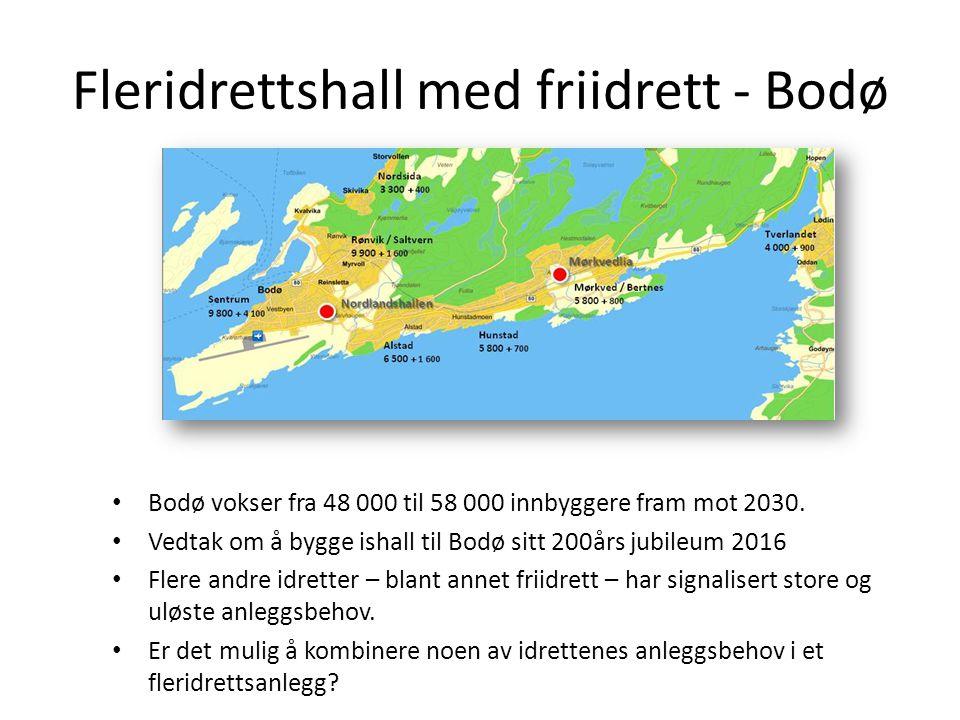 Fleridrettshall med friidrett - Bodø • Bodø vokser fra 48 000 til 58 000 innbyggere fram mot 2030. • Vedtak om å bygge ishall til Bodø sitt 200års jub