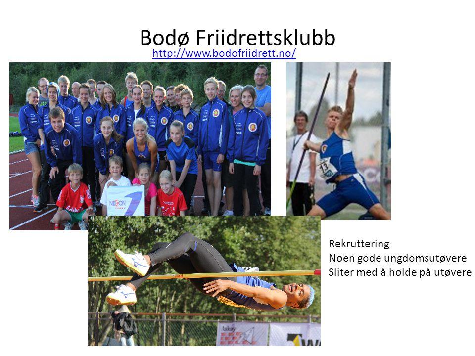 Bodø Friidrettsklubb http://www.bodofriidrett.no/ Rekruttering Noen gode ungdomsutøvere Sliter med å holde på utøvere