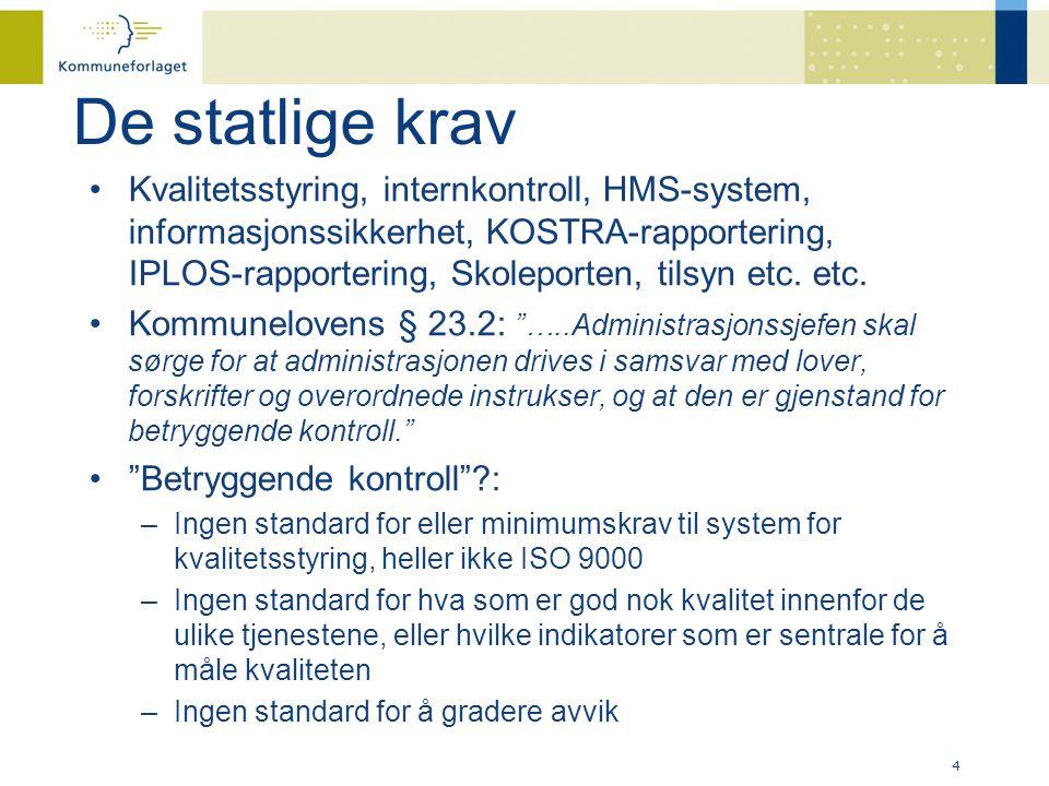 De statlige krav •Kvalitetsstyring, internkontroll, HMS-system, informasjonssikkerhet, KOSTRA-rapportering, IPLOS-rapportering, Skoleporten, tilsyn etc.