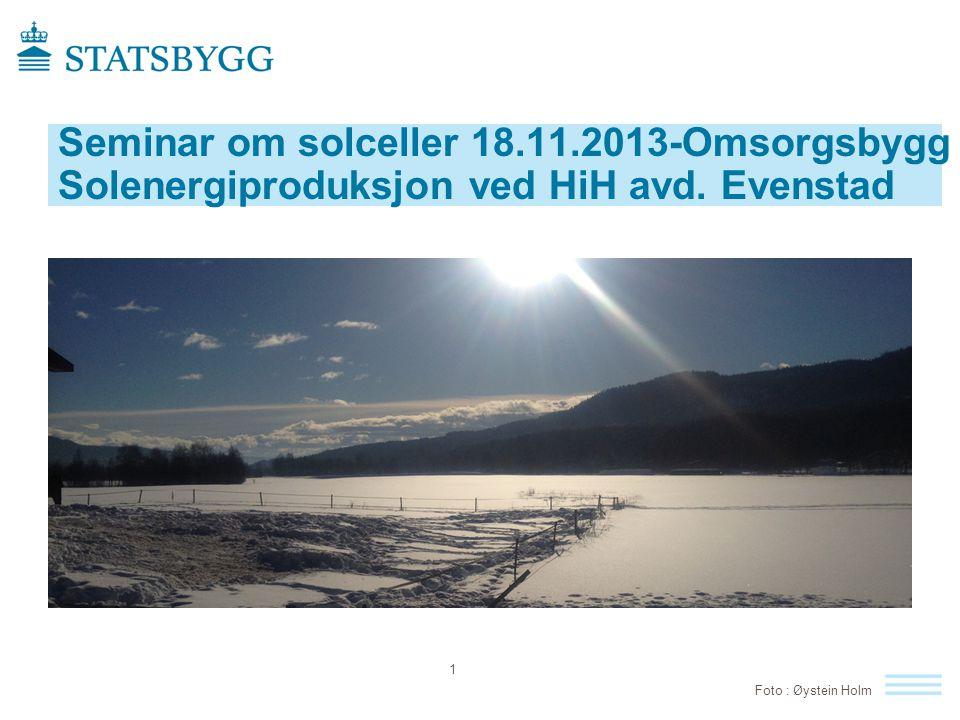 Utnyttelse av solenergi på Evenstad  Solceller tatt i bruk på Flerbrukshuset  Solvarme anbefalt i nytt hybel- og adminbygg 12