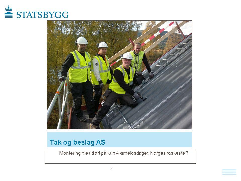 Tak og beslag AS Montering ble utført på kun 4 arbeidsdager, Norges raskeste ? 25