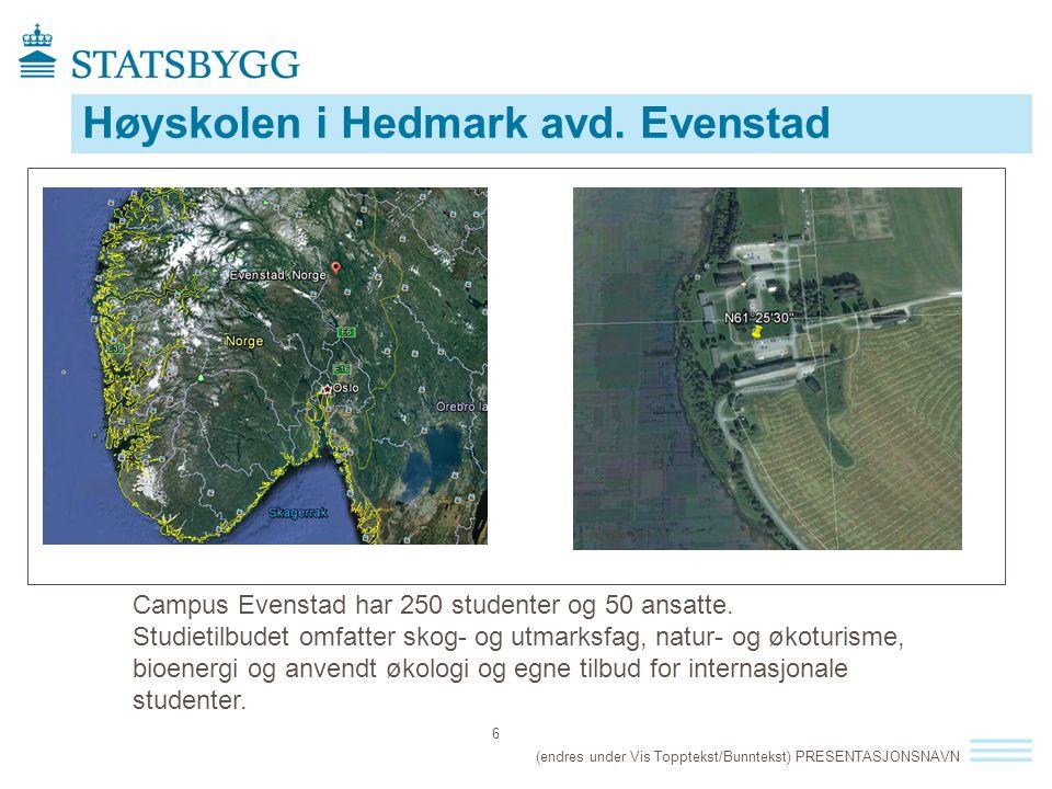 Høyskolen i Hedmark avd. Evenstad (endres under Vis Topptekst/Bunntekst) PRESENTASJONSNAVN 6 Campus Evenstad har 250 studenter og 50 ansatte. Studieti