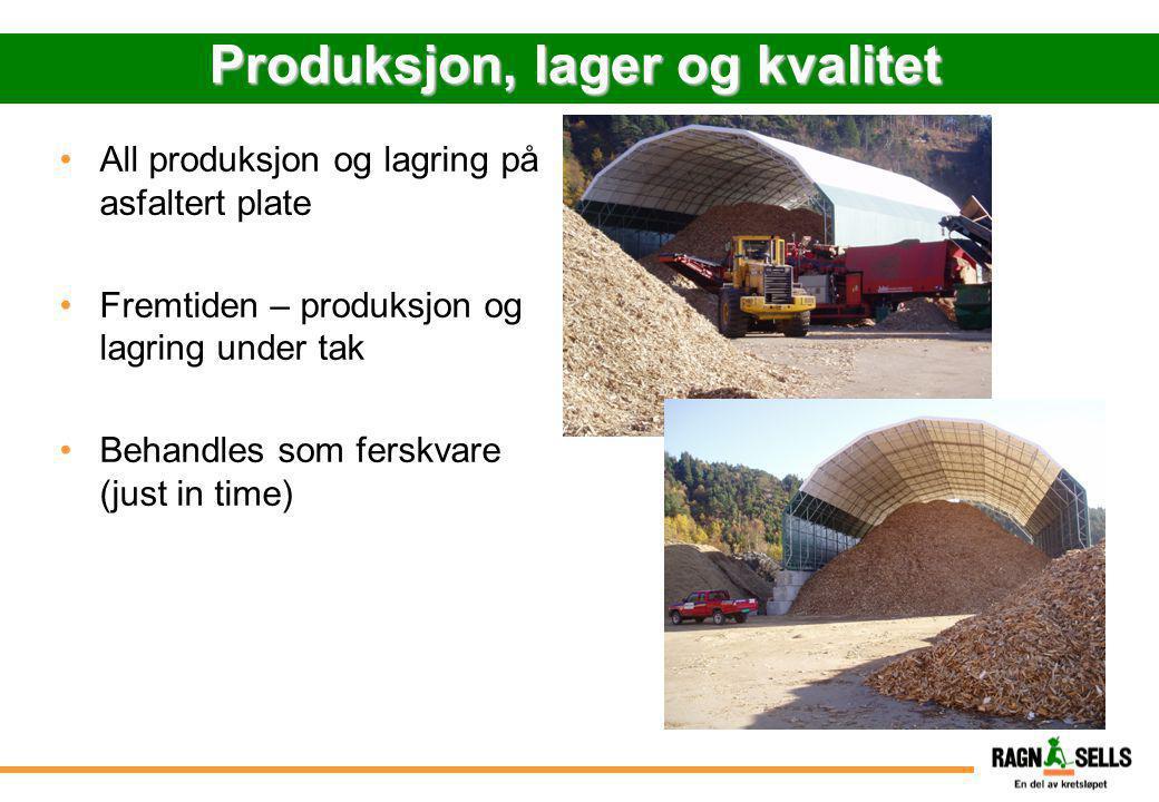 Produksjon, lager og kvalitet •All produksjon og lagring på asfaltert plate •Fremtiden – produksjon og lagring under tak •Behandles som ferskvare (jus