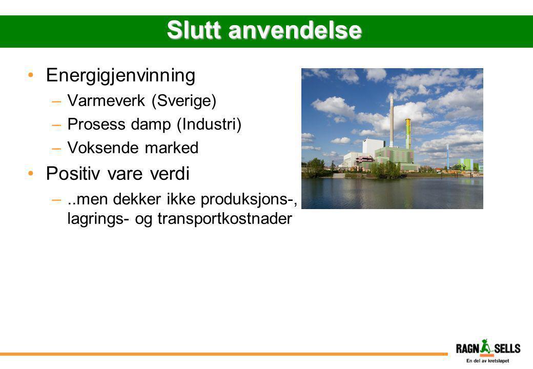 Slutt anvendelse •Energigjenvinning –Varmeverk (Sverige) –Prosess damp (Industri) –Voksende marked •Positiv vare verdi –..men dekker ikke produksjons-