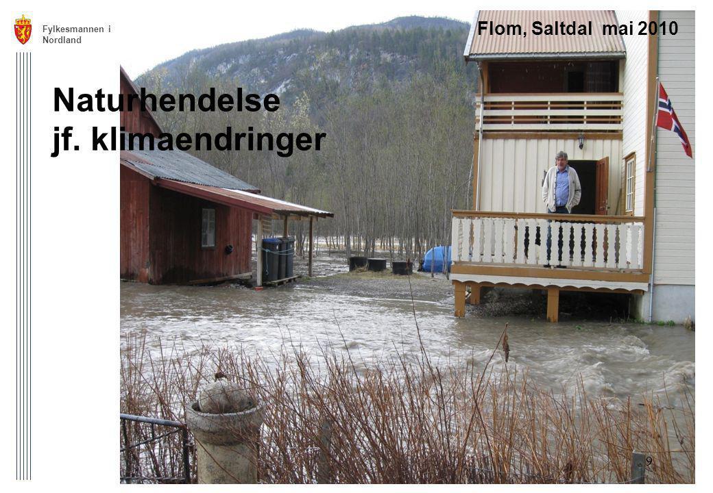 Fylkesmannen i Nordland 9 Flom, Saltdal mai 2010 Naturhendelse jf. klimaendringer