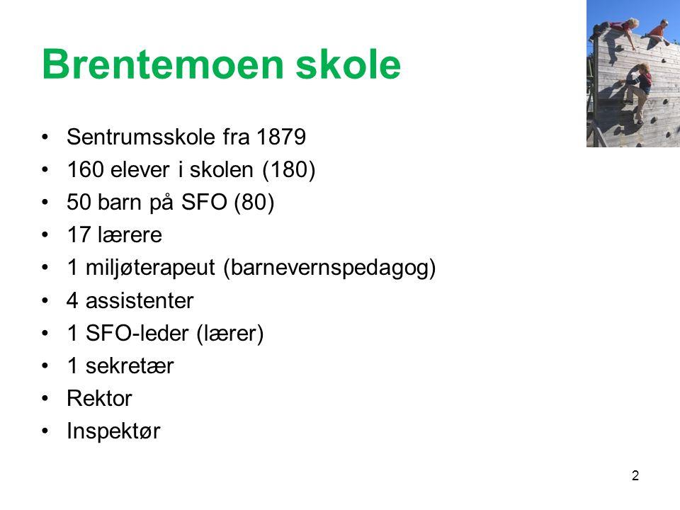 Brentemoen skole •Sentrumsskole fra 1879 •160 elever i skolen (180) •50 barn på SFO (80) •17 lærere •1 miljøterapeut (barnevernspedagog) •4 assistente