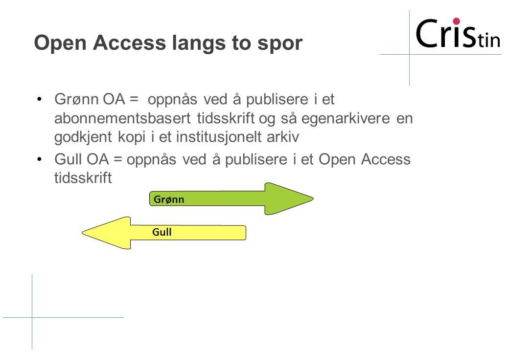 Open Access langs to spor •Grønn OA = oppnås ved å publisere i et abonnementsbasert tidsskrift og så egenarkivere en godkjent kopi i et institusjonelt arkiv •Gull OA = oppnås ved å publisere i et Open Access tidsskrift Gull Grønn