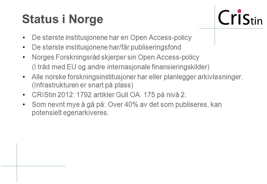 Status i Norge •De største institusjonene har en Open Access-policy •De største institusjonene har/får publiseringsfond •Norges Forskningsråd skjerper sin Open Access-policy (I tråd med EU og andre internasjonale finansieringskilder) •Alle norske forskningsinstitusjoner har eller planlegger arkivløsninger.