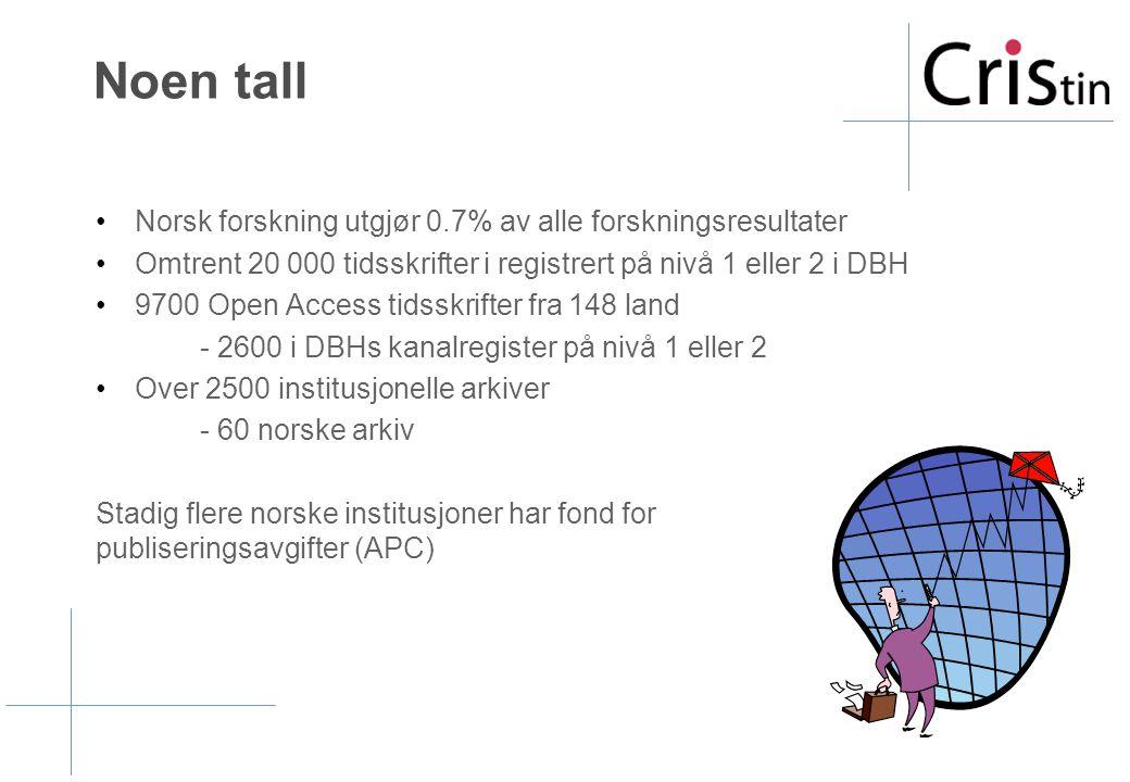 Noen tall •Norsk forskning utgjør 0.7% av alle forskningsresultater •Omtrent 20 000 tidsskrifter i registrert på nivå 1 eller 2 i DBH •9700 Open Access tidsskrifter fra 148 land - 2600 i DBHs kanalregister på nivå 1 eller 2 •Over 2500 institusjonelle arkiver - 60 norske arkiv Stadig flere norske institusjoner har fond for publiseringsavgifter (APC)