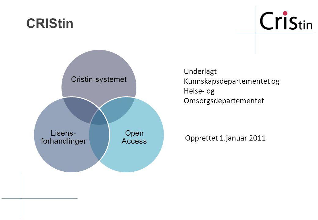 CRIStin Underlagt Kunnskapsdepartementet og Helse- og Omsorgsdepartementet Cristin-systemet Open Access Lisens- forhandlinger Opprettet 1.januar 2011