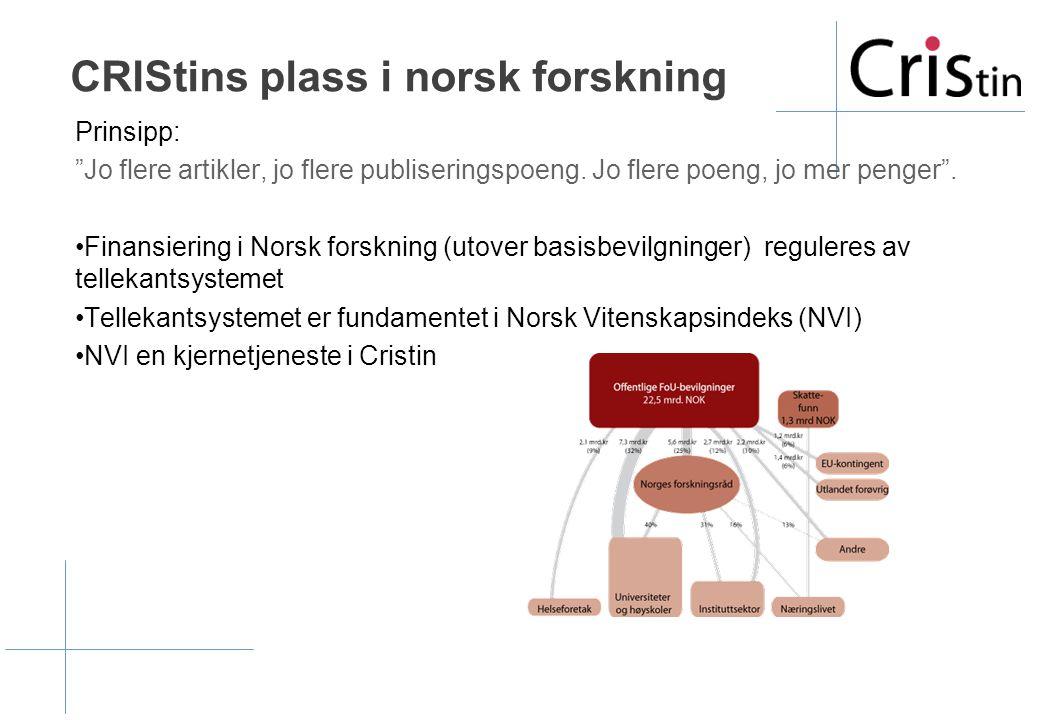 CRIStins plass i norsk forskning Prinsipp: Jo flere artikler, jo flere publiseringspoeng.