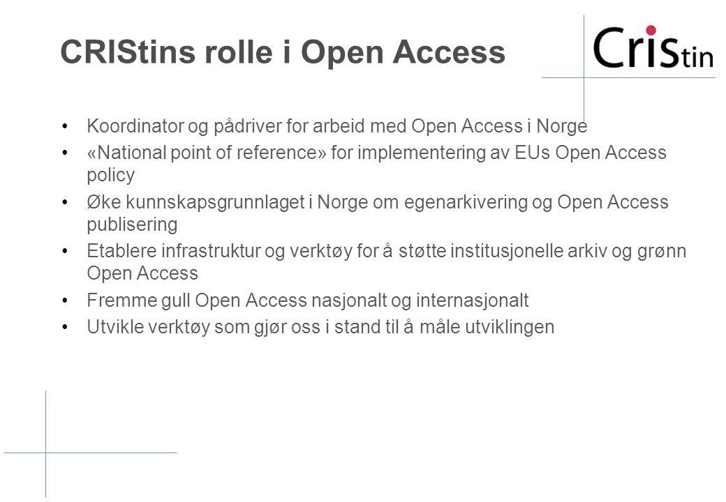CRIStins rolle i Open Access •Koordinator og pådriver for arbeid med Open Access i Norge •«National point of reference» for implementering av EUs Open Access policy •Øke kunnskapsgrunnlaget i Norge om egenarkivering og Open Access publisering •Etablere infrastruktur og verktøy for å støtte institusjonelle arkiv og grønn Open Access •Fremme gull Open Access nasjonalt og internasjonalt •Utvikle verktøy som gjør oss i stand til å måle utviklingen