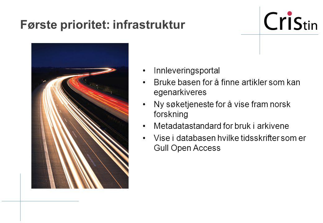 Første prioritet: infrastruktur •Innleveringsportal •Bruke basen for å finne artikler som kan egenarkiveres •Ny søketjeneste for å vise fram norsk forskning •Metadatastandard for bruk i arkivene •Vise i databasen hvilke tidsskrifter som er Gull Open Access