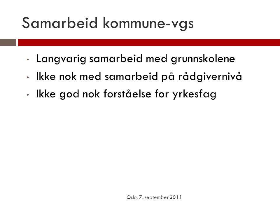 Samarbeid kommune-vgs Oslo, 7. september 2011 • Langvarig samarbeid med grunnskolene • Ikke nok med samarbeid på rådgivernivå • Ikke god nok forståels
