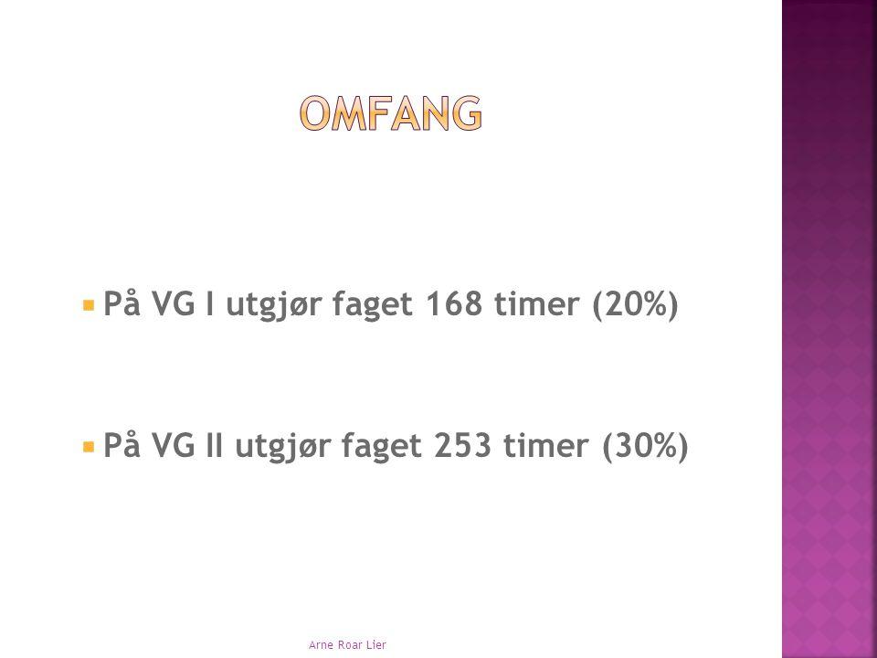  På VG I utgjør faget 168 timer (20%)  På VG II utgjør faget 253 timer (30%) Arne Roar Lier