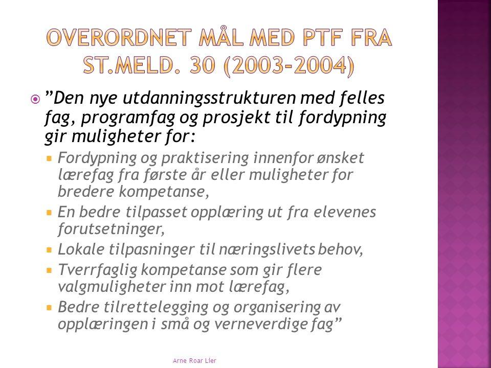  I forskriften til Opplæringslova er PTF beskrevet gjennom;  Formål  Omfang  Innhold.