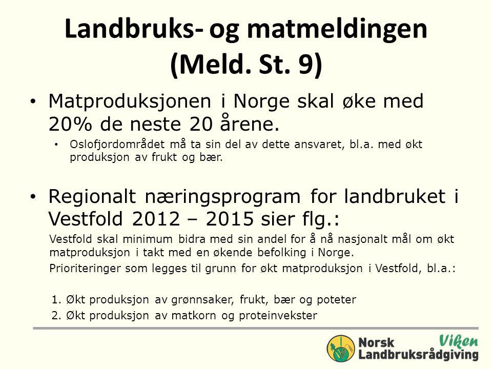 Landbruks- og matmeldingen (Meld. St. 9) • Matproduksjonen i Norge skal øke med 20% de neste 20 årene. • Oslofjordområdet må ta sin del av dette ansva