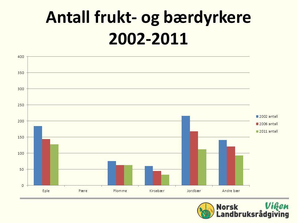 Antall frukt- og bærdyrkere 2002-2011