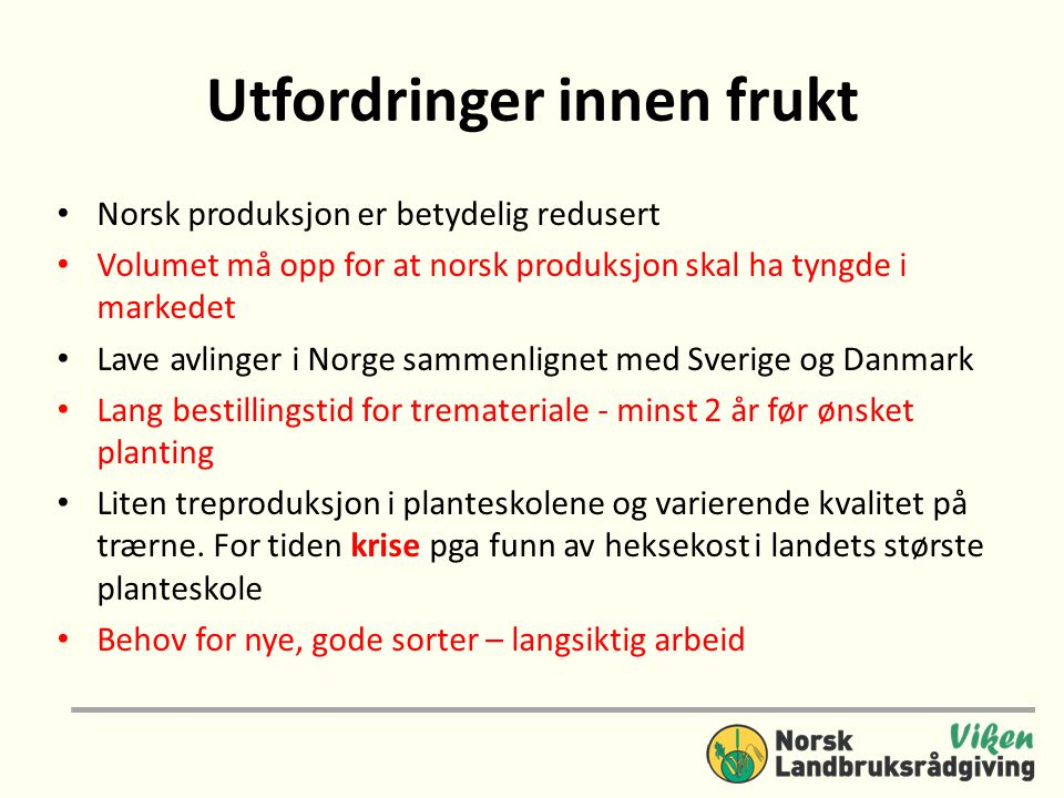 Utfordringer innen frukt • Norsk produksjon er betydelig redusert • Volumet må opp for at norsk produksjon skal ha tyngde i markedet • Lave avlinger i